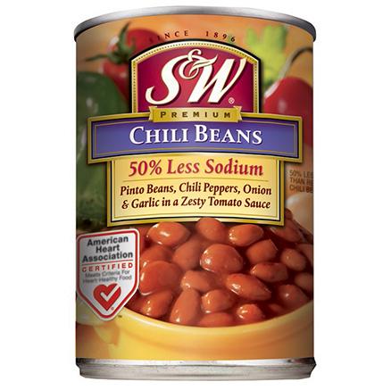 S&W 50% Lower Sodium Chili Beans